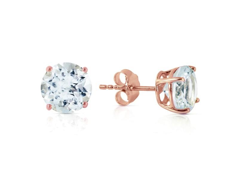 3.1 CTW 14K Solid Rose Gold Anna Aquamarine Stud Earrings