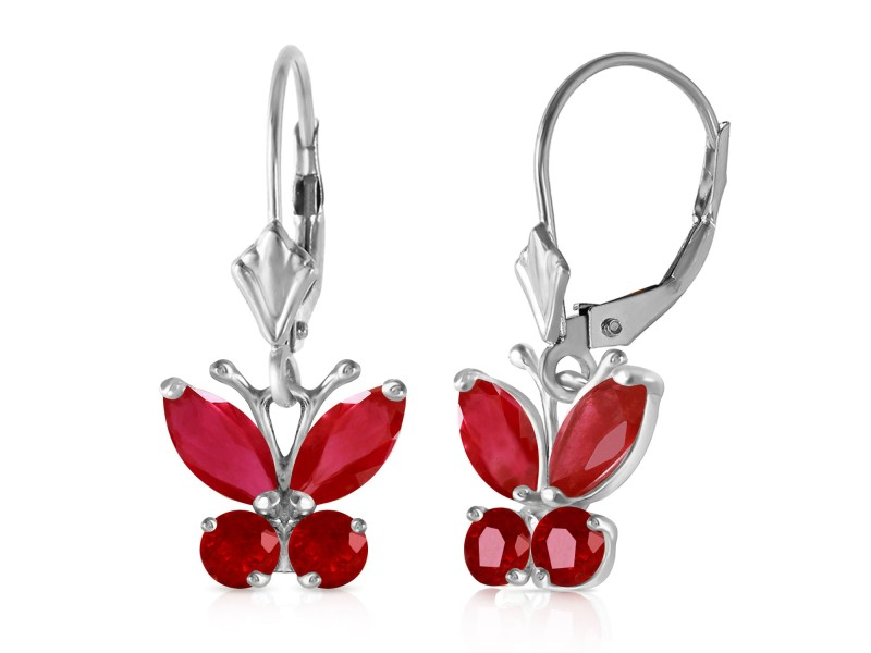 1.24 CTW 14K Solid White Gold Butterfly Earrings Natural Ruby
