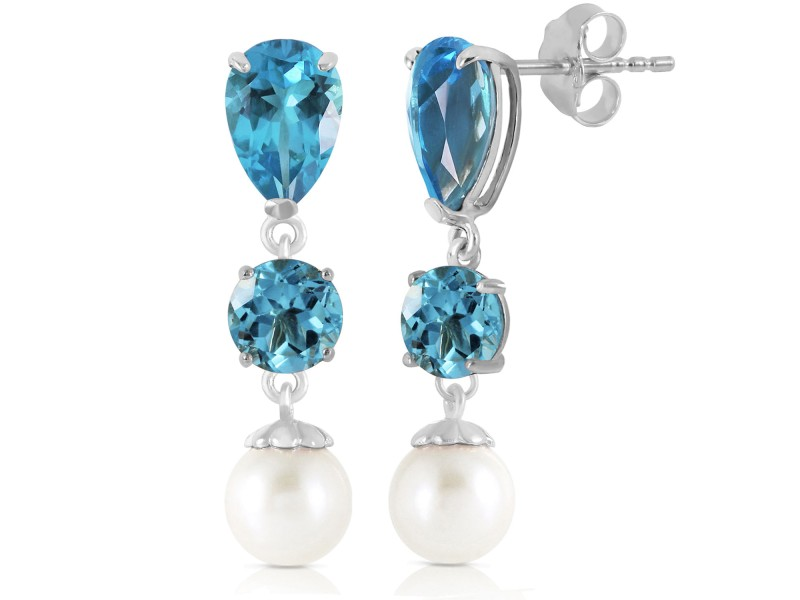 10.5 CTW 14K Solid White Gold Burning Up Blue Topaz Cultured Pearl Earrings