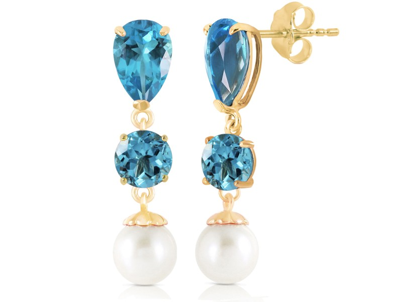 10.5 CTW 14K Solid Gold La Vie Blue Topaz Cultured Pearl Earrings