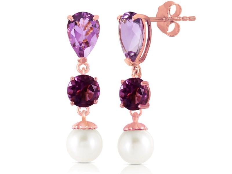 10.5 CTW 14K Solid Rose Gold Chandelier Earrings Amethyst Cultured Pearl