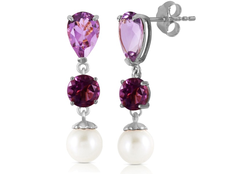 10.5 CTW 14K Solid White Gold Chandelier Earrings Amethyst Cultured Pearl