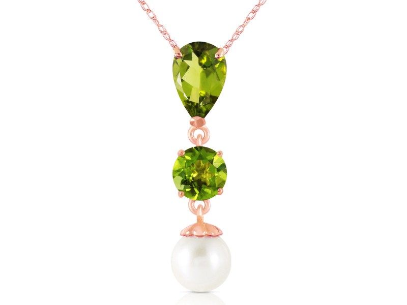 5.25 CTW 14K Solid Rose Gold Necklace Peridot Cultured Pearl