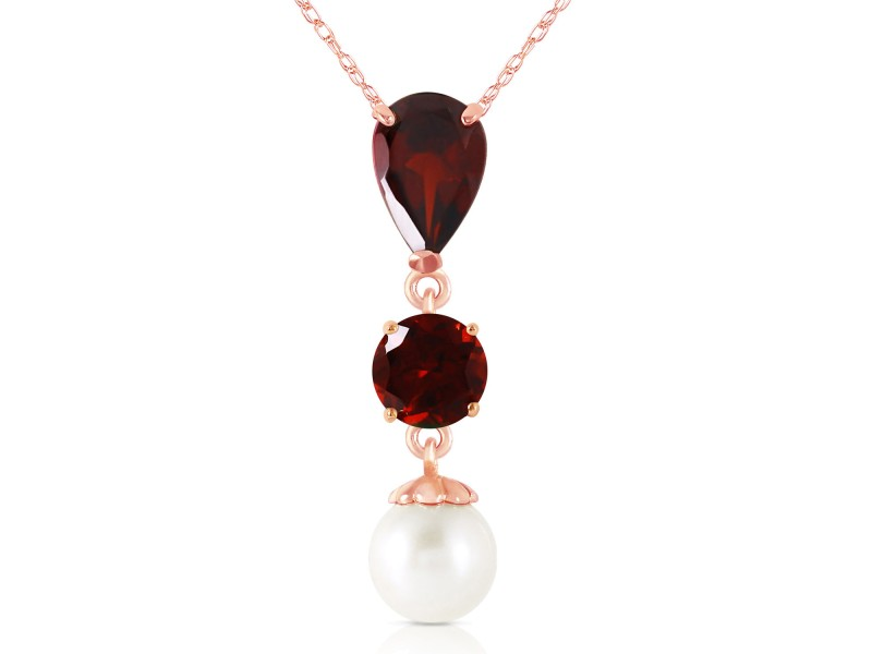 5.25 CTW 14K Solid Rose Gold Necklace Garnet Cultured Pearl