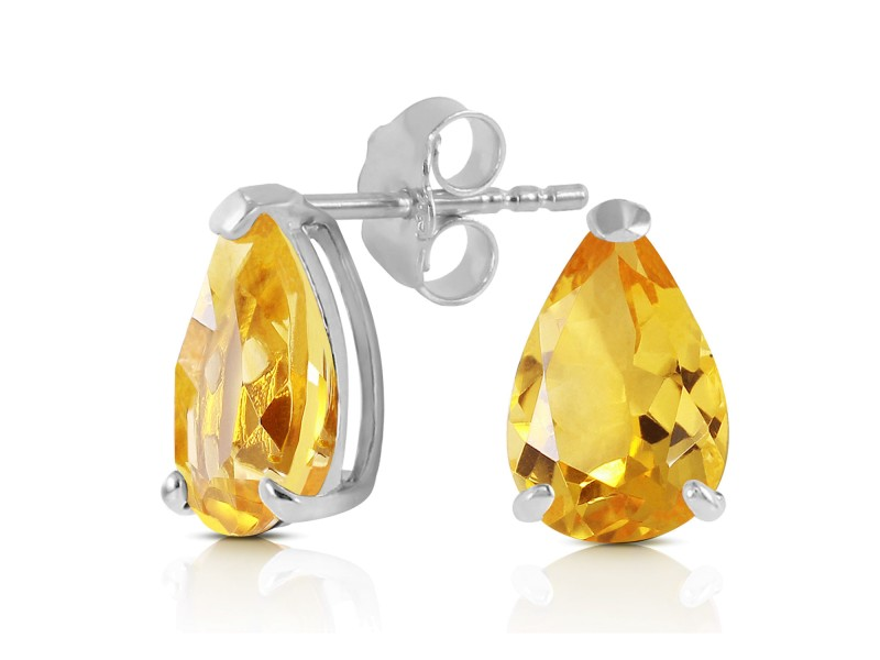 3.15 CTW 14K Solid White Gold Stand Still And Let Citrine Earrings