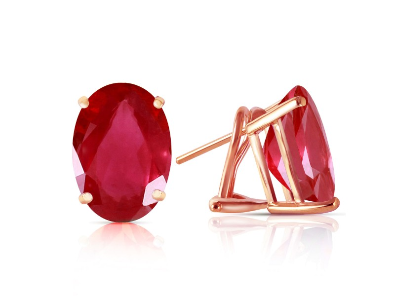 3.5 CTW 14K Solid Rose Gold Allure Ruby Stud Earrings