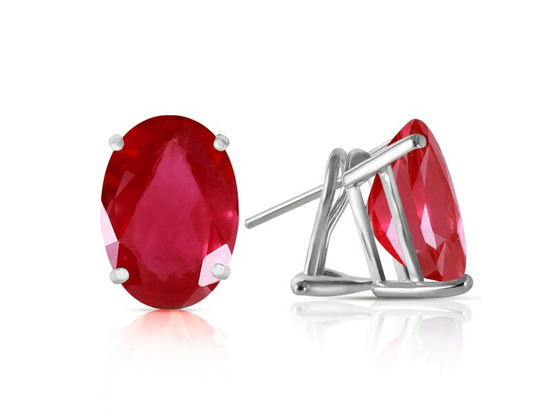 3.5 CTW 14K Solid White Gold Parade Ruby Earrings