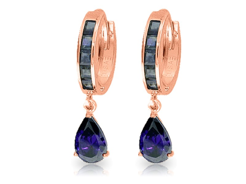 4.55 CTW 14K Solid Rose Gold Hoop Huggie Earrings Sapphire