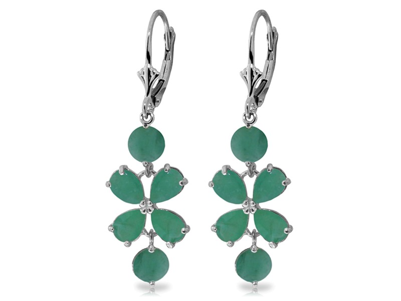 5.32 CTW 14K Solid White Gold Chandelier Earrings Natural Emerald
