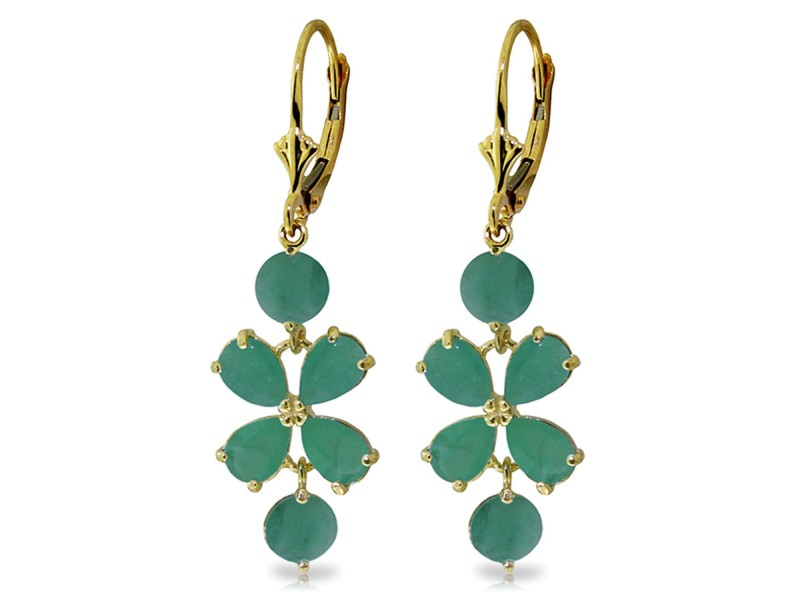 5.32 CTW 14K Solid Gold Chandelier Earrings Natural Emerald