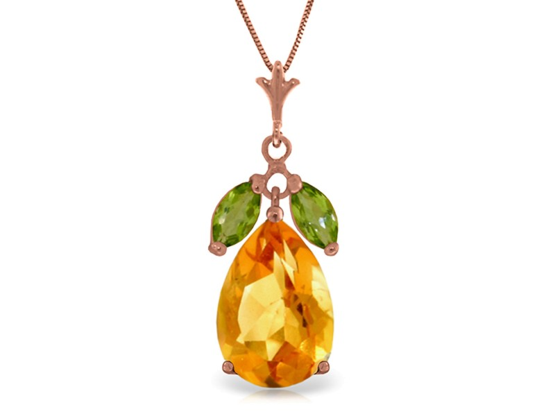 14K Solid Rose Gold Necklace with Citrine & Peridots