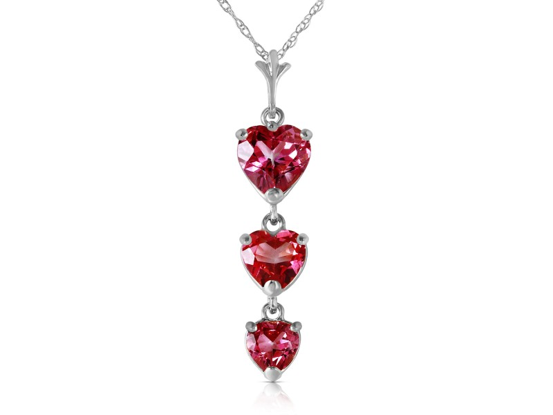 3.03 CTW 14K Solid White Gold Single Tendril Pink Topaz Necklace