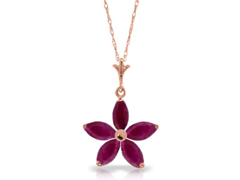 14K Solid Rose Gold Necklace with  Natural Ruby