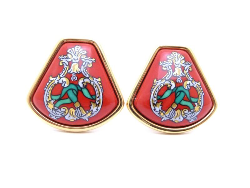 Hermes Metal Material Enamel Earring