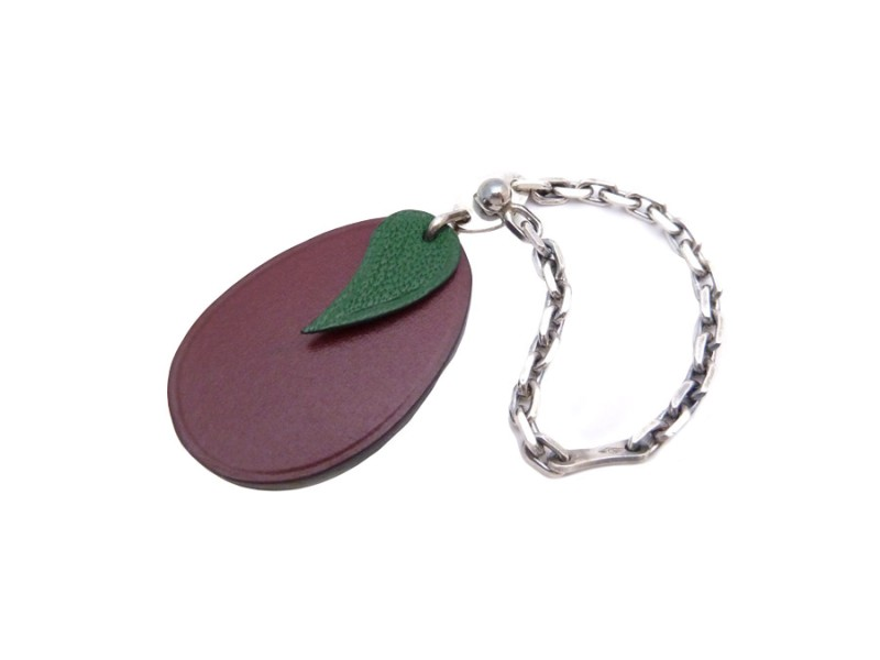 Hermes Leather And 925 Sterling Silver Chain Ring