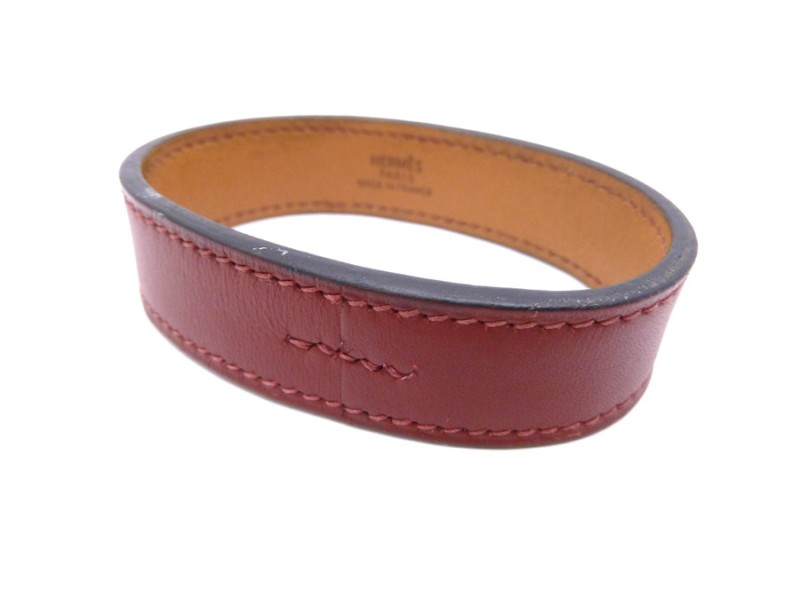 Hermes Red Leather Bracelet