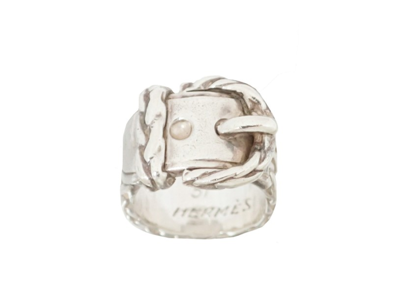 Hermes 925 Sterling Silver Belt Motif Ring