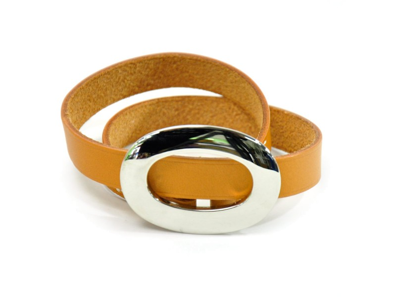Hermes Brown Leather Silver Tone Metal Bracelet