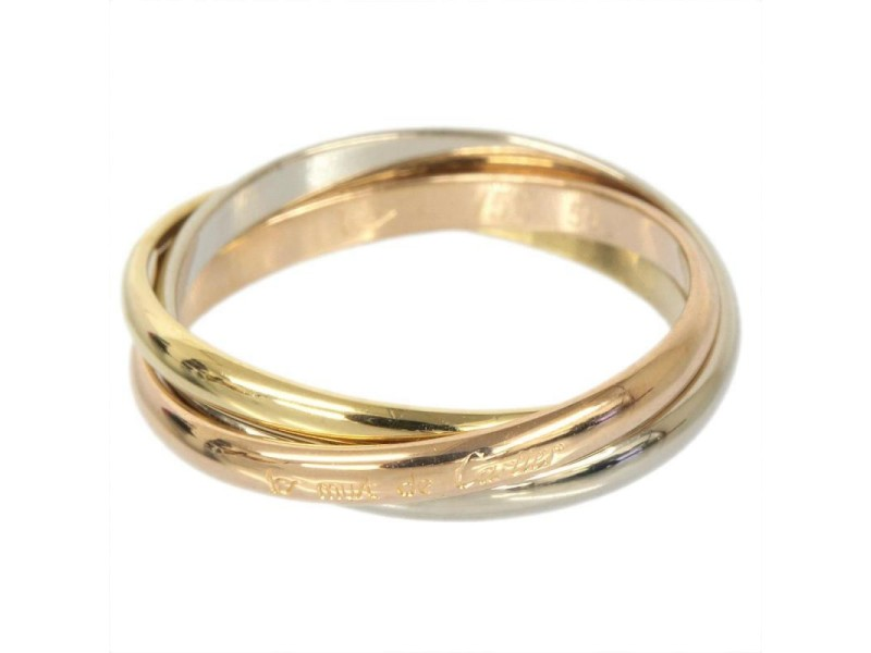 Cartier 18K Yellow White And Pink Gold Trinity Ring Size 5.25