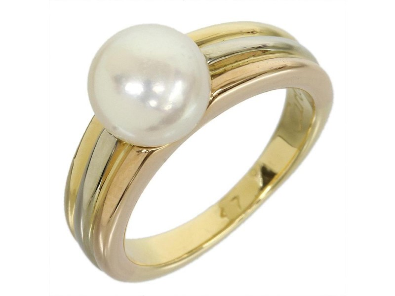 Cartier 18K Yellow White And Pink Gold Ring Size 4.25