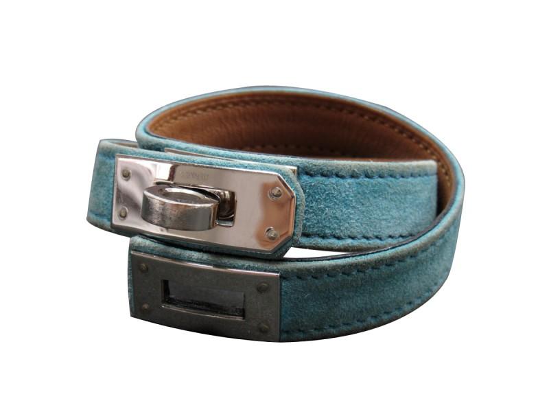 Hermes Silver Tone Metal Blue Suede Bracelet
