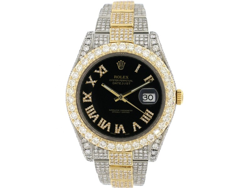 Rolex Datejust II 2-Tone Yellow gold/steel 41MM Oyster 15.2CT Diamond Watch 116333
