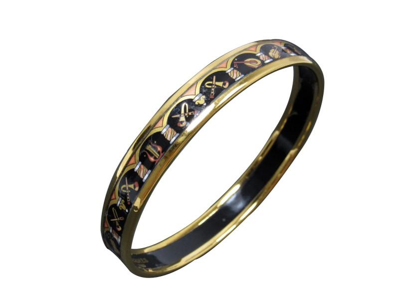 Hermes Gold Tone Metal Cloisonne Bangle