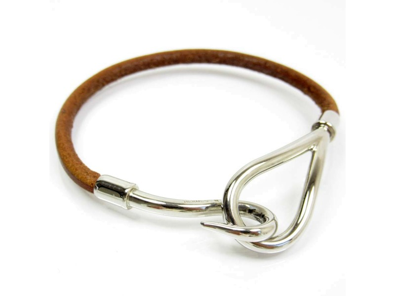 Hermes Silver Tone Metal Brown Leather Bracelet