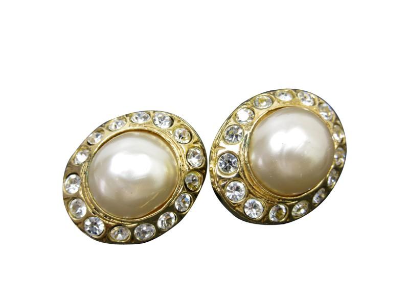 Chanel Gold Tone Simulated Glass Pearl Rhinestone Earrings