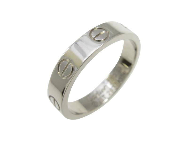 Cartier 18K White Gold Mini Love Ring Size 4.75