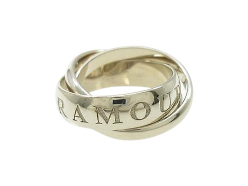 Cartier 18K White Gold Trinity Ring Size 5.75