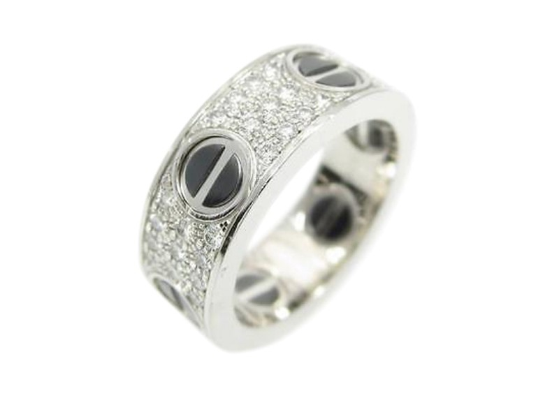 Cartier 18K White Gold Love Charm Ring Size: 4.5