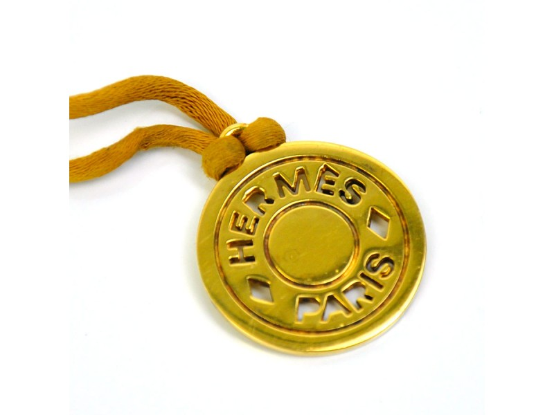 Hermes Gold Tone Metal Brown Cord Necklace