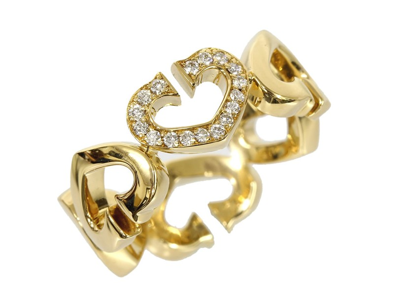 Cartier 18K Yellow Gold C heart Diamond Ring