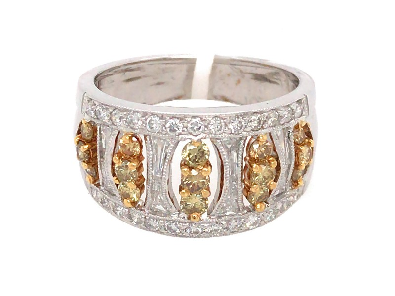 18k White Gold with Fancy Yellow Diamond Band Ring