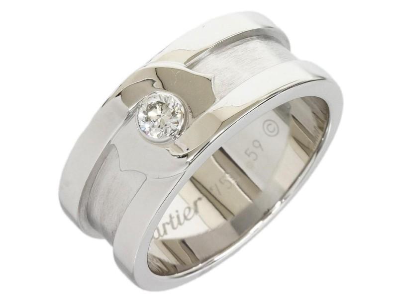 Cartier 18K White Gold Diamond Motif Band Ring Size: 9