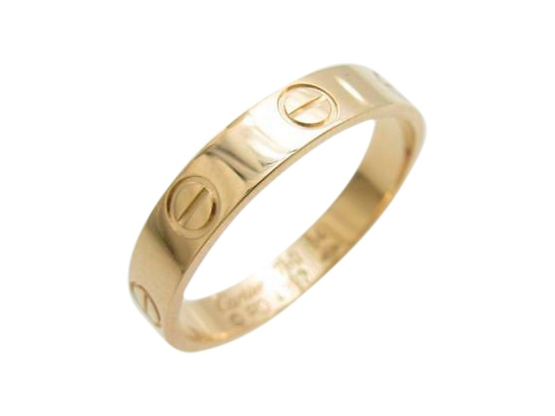 Cartier 750 Pink Gold Mini Love Ring Size: 6.75