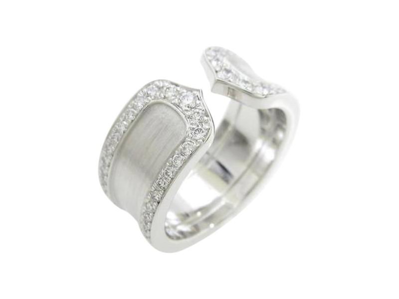 Cartier 750 White Gold Diamond Edge Ring Size 5.25