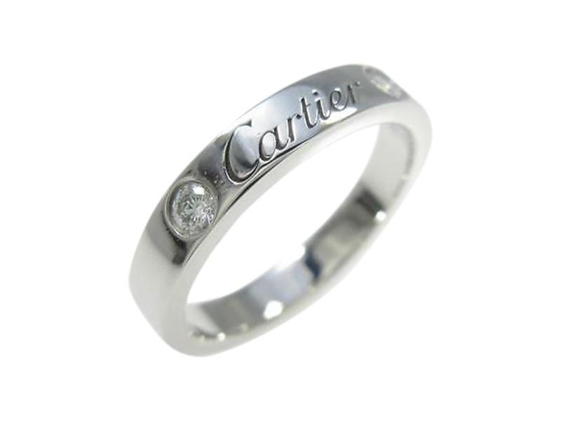 Cartier 950 Platinum Engraved 2P Ring 4