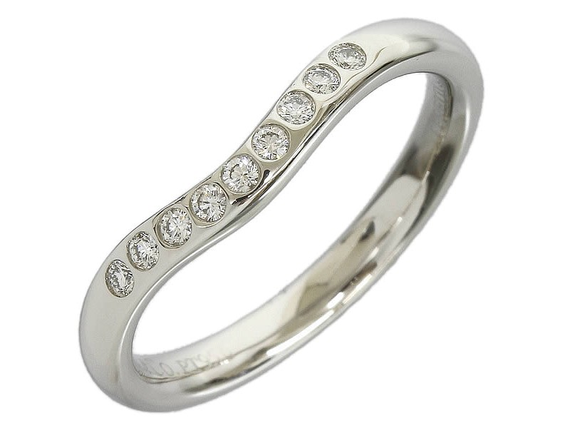 Tiffany & Co. Platinum 9 Diamonds Curved Ring