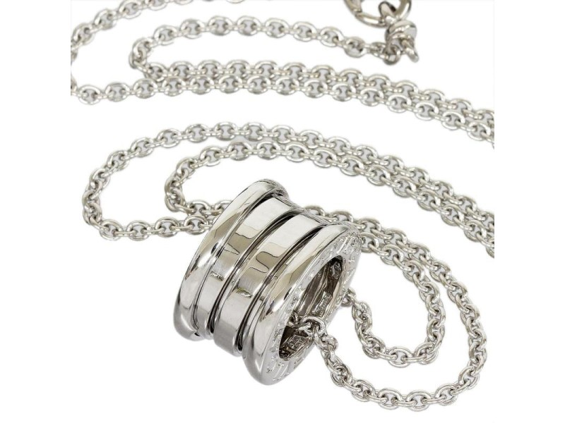 Bulgari 18K White Gold Round Pendant Necklace