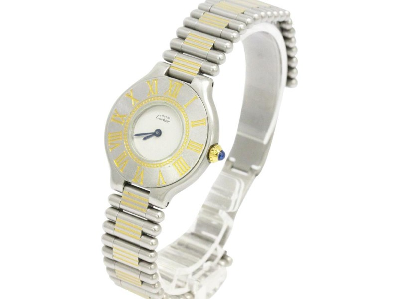 Cartier Must 21 Stainless Steel and Gold Plated Quartz Ladies Watch