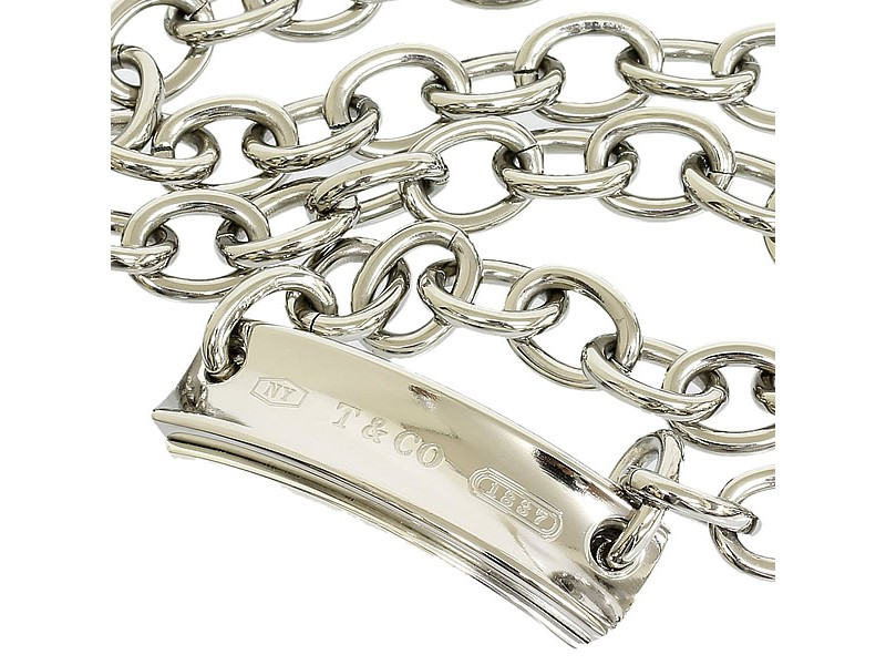 Tiffany And Co Titanium And 925 Sterling Silver Plate Necklace