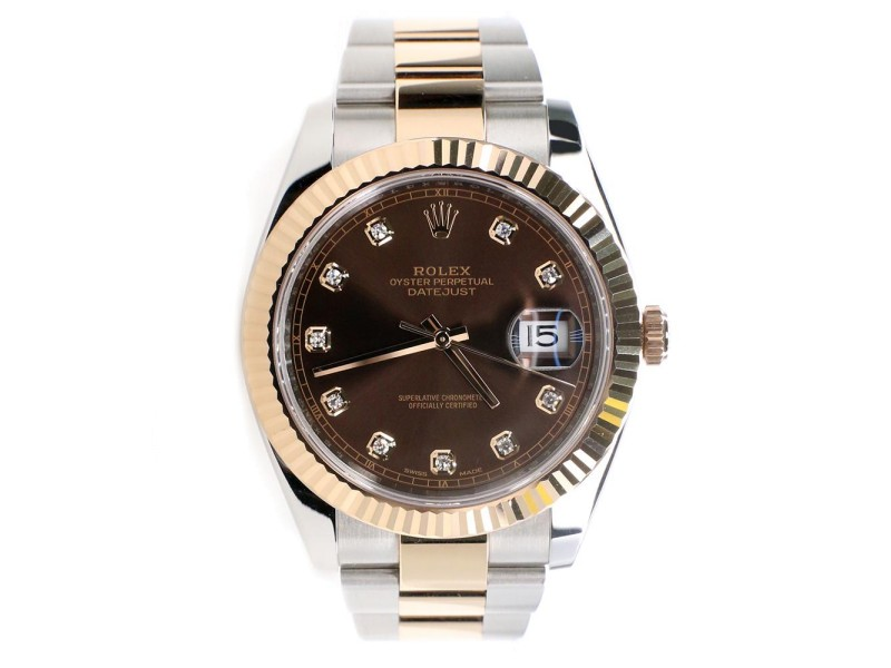 Rolex Datejust 41MM Factory Chocolate Diamond Dial 2-Tone Rose Gold/Steel Oyster Watch