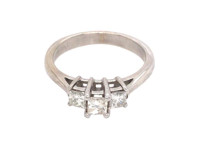 Helzberg 14k White Gold 3 Stone Princess Cut Engagement Ring