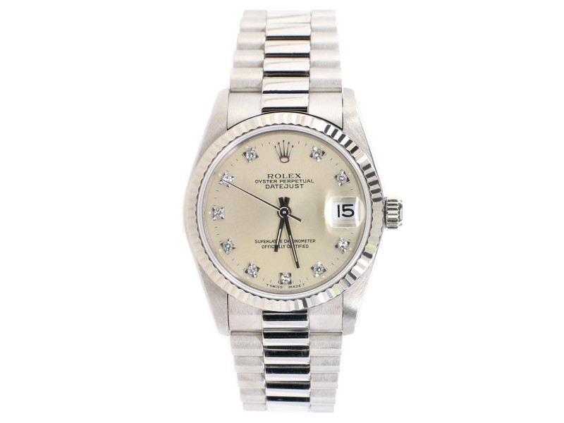 Rolex President Datejust 31MM Factory Diamond Dial 18k White Gold Watch