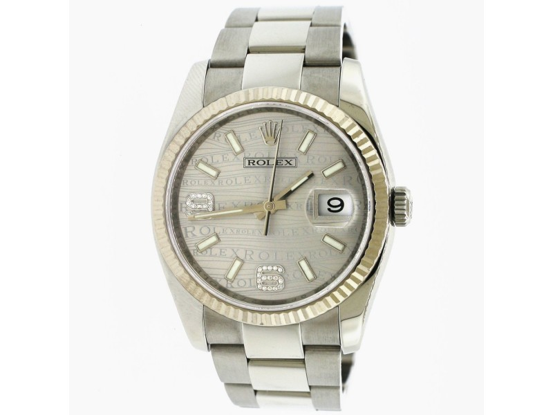 Rolex Datejust 36MM Steel/White Gold Fluted Bezel/Silver Waves Diamond Arabic 6 And 9 Dial Watch 116234