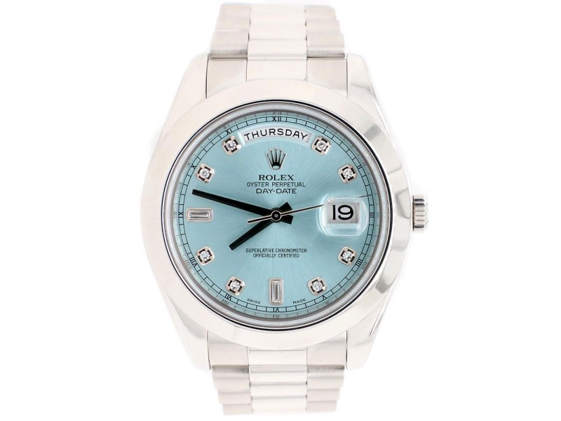 Rolex President Day-Date II 41mm Factory Ice Blue Diamond Dial Platinum Watch 218206 Box Papers