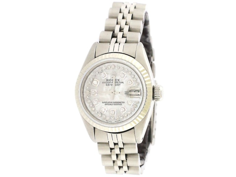 Rolex Datejust 26mm Steel Watch With White Gold Fluted Bezel/White MOP Diamond Dial