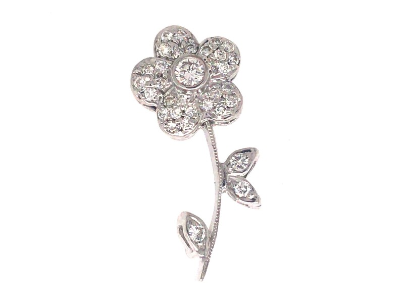 Sweet 14k White Gold Diamond Flower Pin